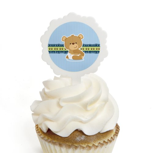 Boy Baby Teddy Bear - Cupcake Picks with Stickers - Baby Shower Cupcake Toppers - 12 Count