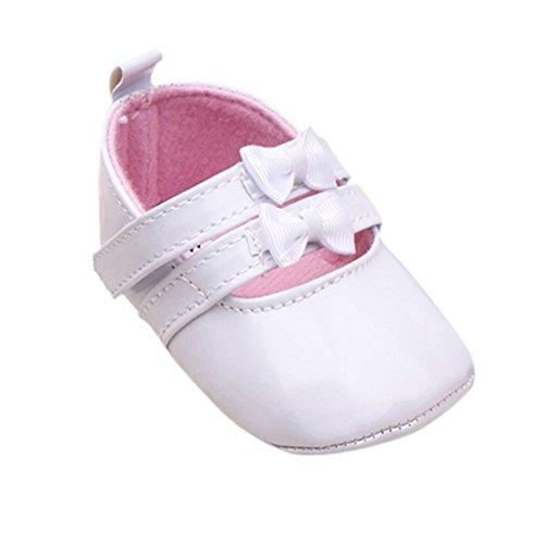 Weixinbuy Newborn Baby Girls PU Leather Bow Soft Toddler Crib Shoes White L