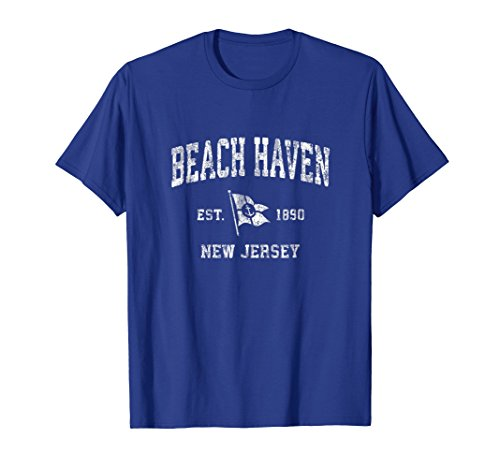 Mens Beach Haven New Jersey NJ Vintage Boat Anchor Flag Tee 2XL Royal Blue