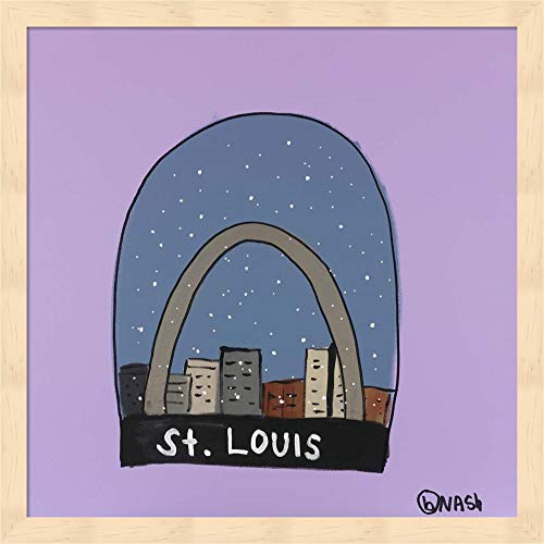 - St. Louis Snow Globe by Brian Nash Fine Art Print with Wood Box Frame and Glass Cover, 15 x 15 inches