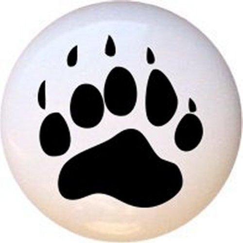 Bear Paw Print Decorative Glossy Ceramic Drawer Knob ()