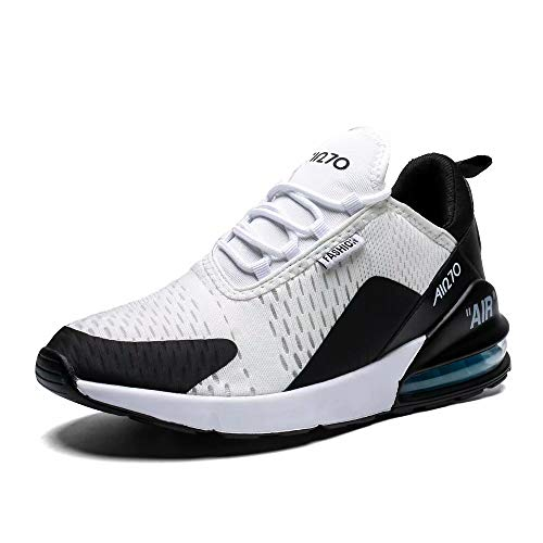 Mabove Women's Men's Running Shoes Lightweight Air Cushion Sneakers Breathable Athletic Walking Shoe for Tennis Sport Gym Training Jogging (Black/White-270, 43)
