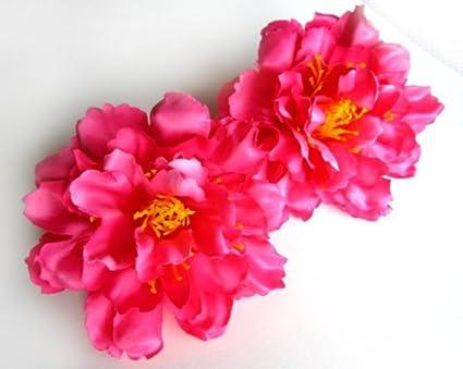 (2) seda rosa peonía flor de cabezas – 10,16 cm – flores