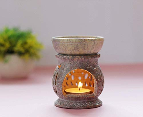 (W Weblytech Hand Carved Essential Oil Burner Diffuser Made of Soapstone with Tea Light Holder Aromatherapy (Design10))