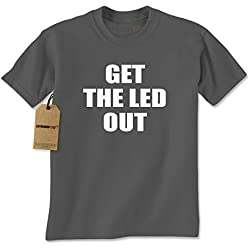Mens Get The Led Out T-Shirt Medium Charcoal Grey