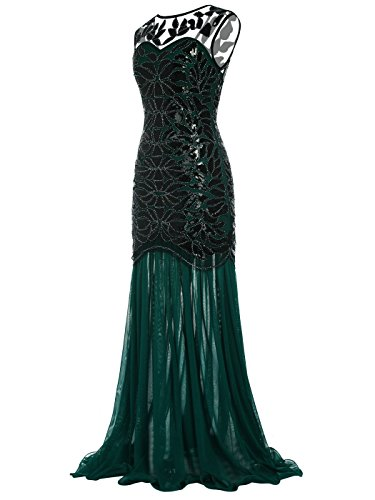 Vestido Longitud FAIRY Verde 1920s V Noche del back de con Piso COUPLE D20S004 Lentejuelas de Adornos La Oscuro qttxa8r