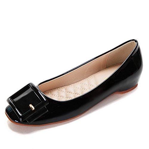 Damen Quadratisch Zehe Niedriger Absatz Pumps Schuhe mit Schnalle, Grau-Schnalle, 37 AalarDom