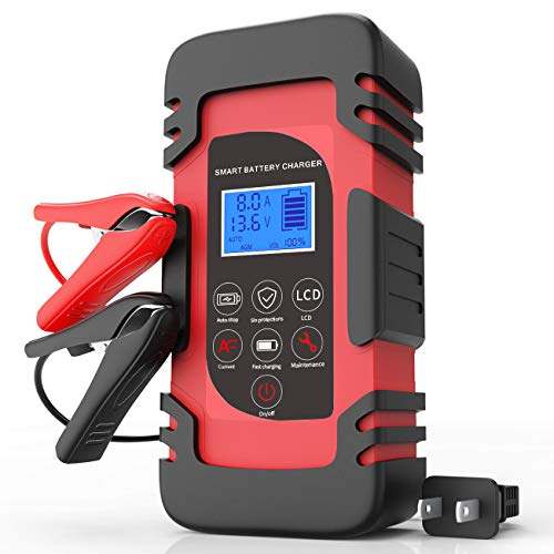 Luoges Car Battery Charger 12V 4A/6A/8A 24V 4A | Smart Automotive Trickle Charger with LCD Display for Car Truck Motorcycle Lawn Mower SUV SLA ATV RV SUV Wet AGM Gel Cell Lead Acid Battery (Red)