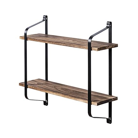 Love-KANKEI Rustic Floating Shelves Wall Mounted Industrial Wall Shelves for Pantry Living Room Bedroom Kitchen Entryway 2 Tier Wood Storage Shelf Heavy Duty Carbonized Black - FUNCTIONAL WOOD WALL SHELVES - Perfect choice for adding additional shelving space for books, collectibles, plants, crafts, photos and more in living room, bedroom, office, kitchen, pantry RUSTIC AND INDUSTRIAL FLOATING SHELVES - Features rustic style with torch finished solid wood boards and industrial metal brackets, great decorative wall shelves COMPACT TWO TIER STORAGE SHELVES - Simple and heavy duty organizing shelves with ample storage, 9.5 inch spaced 2 layers, 6 inch deep, capable of holding over 50 lbs - wall-shelves, living-room-furniture, living-room - 410JCIW60LL. SS570  -