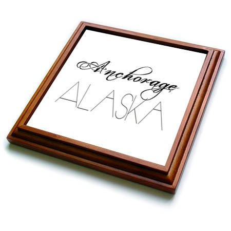 3dRose Alexis Design - American Cities - American Cities - Anchorage Alaska, black on white - 8x8 Trivet with 6x6 ceramic tile (trv_283713_1) ()