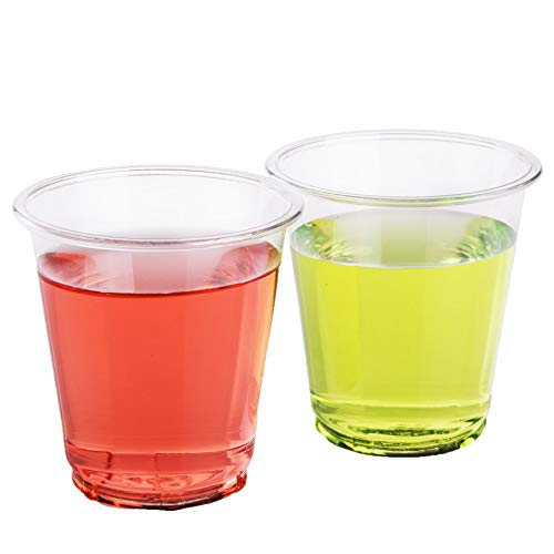 Golden Apple, 3 oz clear plastic cups. Disposable Mini Cups Plastic Cups, Plastic Shot Glasses, Jello Shot Party Tumblers - 50 ct. BPA Free.