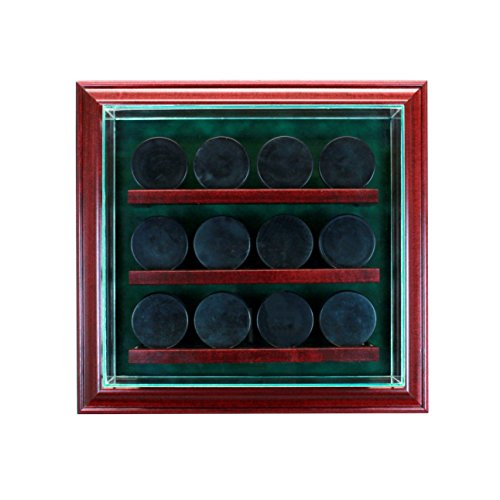 Glass 12 Hockey Puck Cabinet Style Display ()