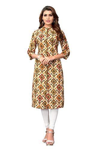 Delisa Womens Multi Designer Women Straight Multi Design Printed Kurti for Women Tunic Top r 3/4 Sleeve Dress 7 (Multi-203, L-40)