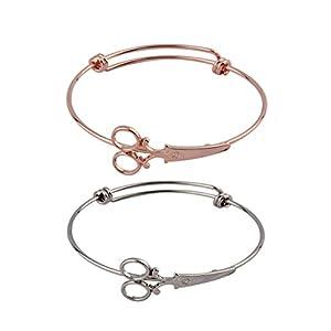 Zuo Bao Steampunk Shears Scissor Bangle Bracelet for Hairdresser (Silver+Rose Gold)