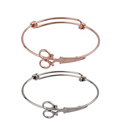 ZUOBAO Steampunk Shears Scissor Bangle Bracelet for Hairdresser (Silver+Rose Gold)