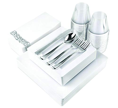 200 Piece Disposable Dinnerware Set for Wedding, Reception and Buffet: 25 Dinner Plates, 25 Dessert Plates, 25 Cups, 50 Forks, 25 Spoons, 25 Knives, and 25 Guest Towels (White Square)