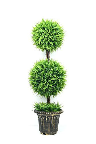 Artificial Topiary Ball Trees – 35.4 inch Double Ball Shaped Topiary Plant Tree Decorative Fake Greenery in Planter Pots for Front Porch, indoor Walkway, Entryway Decorating 1 Packed (Type 1)