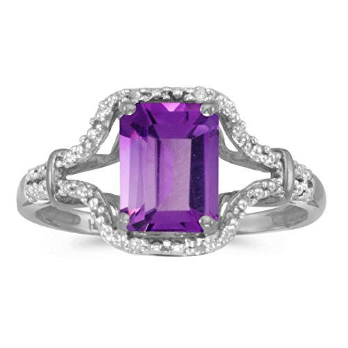 - FB Jewels 14k White Gold Genuine Purple Birthstone Solitaire Emerald-cut Amethyst And Diamond Wedding Engagement Statement Ring - Size 11 (1.22 Cttw.)