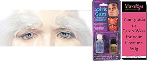 Santa Eyebrows Lace Backing Color White - Lacey Wigs Bundle with Spirit Gum & Remover, MaxWigs Costume Wig Care Guide, Men's Claus Kris Kringle Finest Bushy Quality Father Christmas - Kris Kringle Costumes