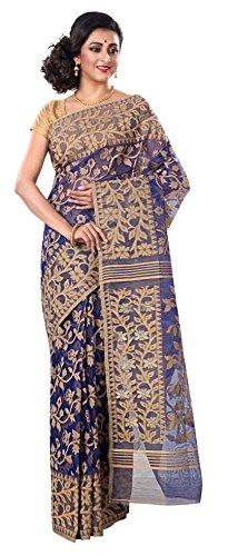 RLB Fashion Women's Cotton Silk Handloom Dhakai Jamdani Saree Free Size Blue & Gold by RLB Fashion
