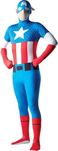 Captain America Costumes Large (Rubie's Costume Men's Marvel Universe Captain America Adult 2Nd Skin Costume, Multi, Large)