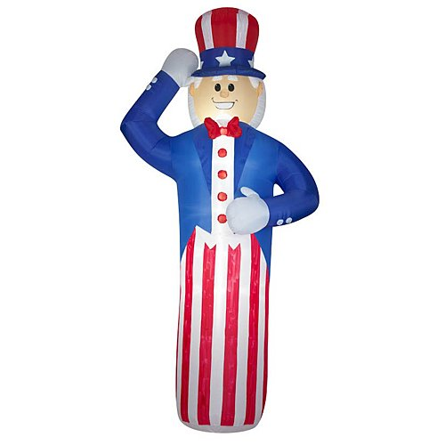 Gemmy Airblown Inflatable Giant Patriotic Uncle Sam Saluting Wearing Red, White, and Blue Outfit, 12-foot