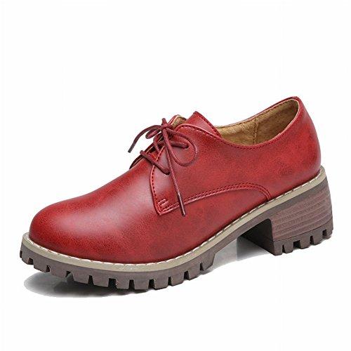 Antes Del Departamento con Zapatos de Pu Gruesos con Zapatos Planos Zapatos de Tacón Alto Estudiante de Moda Todos Los Zapatos de Las Mujeres Británicas Partido , rojo , EUR36.5