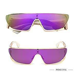 Fashion Cool Flat Top Sunglasses One-piece Mirrored Lens for Women Purple