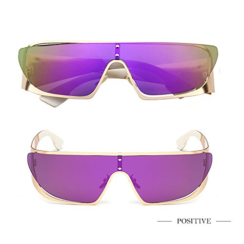 Fashion Cool Flat Top Sunglasses One-piece Mirrored Lens for Women - Axis Eyewear