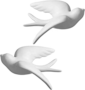 Dorlotou Pair Ceramic Sparrows Swallows Birds Dove White Wall Mounted Decor Hanging for Bathroom Livingroom Garden Wall Sculptures, Large