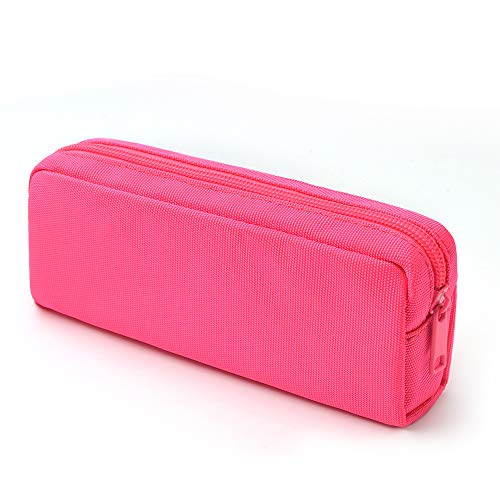 (Dobmit Pencil Pen Case, Big Capacity Pencil Pouch Makeup Bag for Girls and Boys Durable Office Stationery Organizer - Rose Red)