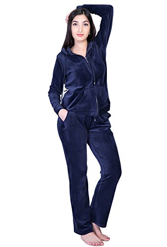 (Dolcevida Women's Active Solid Velour Tracksuit Zip up Hoodie and Sweat Pant Set (Navy, M))