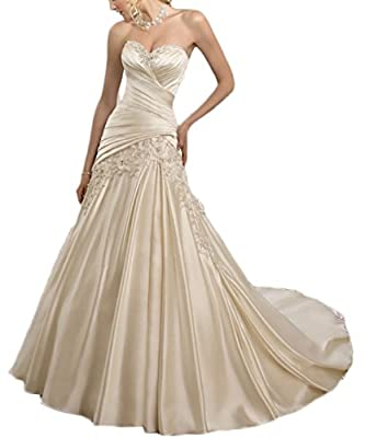 Hhdress Women Wedding Dress for Bride Satin Mermaid Bridal Gown Ball Dress