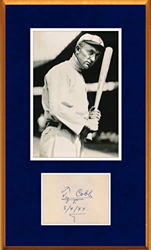 Ty Cobb Signed Autograph Display, 1949 - PSA Mint 9