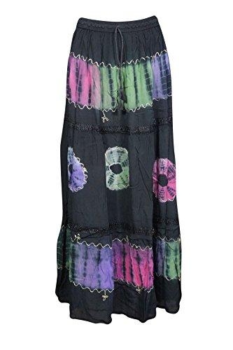 Womens Maxi Skirt Vintage Tie Dye Flare Summer City Chic Flirty Gypsy Long Skirt (Black ()