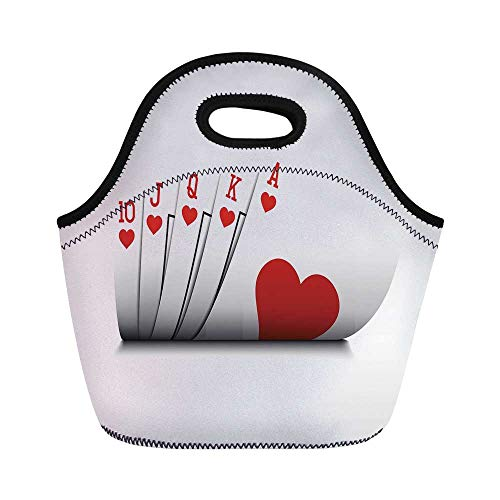Poker Tournament Decorations Durable Lunch Bag,Royal Flush Playing Cards Hearts Betting Bluff Gambling Decorative for School Office,11.0