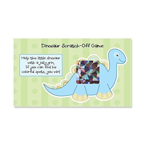 Baby Boy Dinosaur - Baby Shower Game Scratch Off Cards - 22 Count