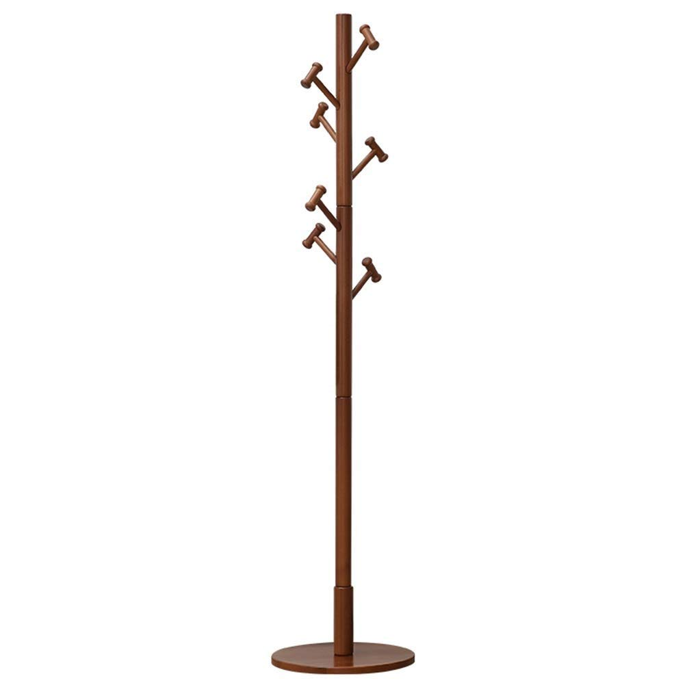 Brown NEVY Coat Rack Solid Wood with 7 Hooks, Jacket Tree Floor Hanger, Suitable for Bedroom Room Bedroom Decor (color   Wood color)