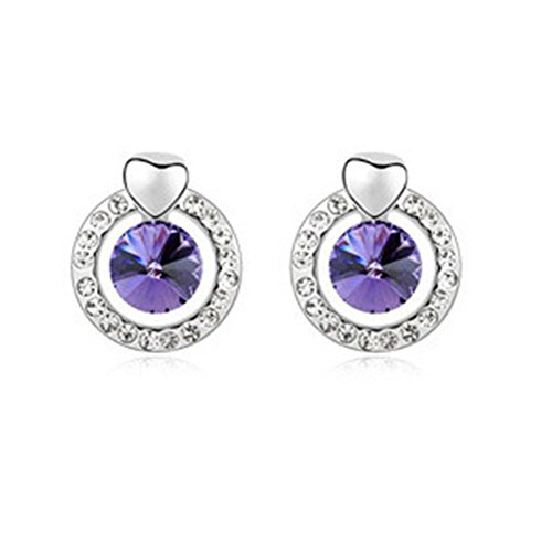 FLANCO Womens New Retro Crystal Rhinestone Crystal Earrings - Heart Go Hand In Hand(C1)