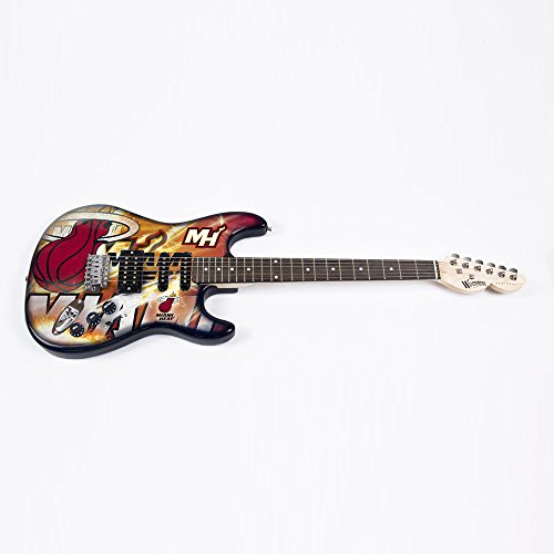 NBA Miami Heat Northender Guitar, 39'' x 13'', Red by Woodrow Guitar by The Sports Vault