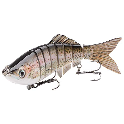 (Bassdash SwimCarp SwimPerch Multi Jointed Swimbaits Bass Big Fish Fishing Sink Hard Crankbait Minnow Lure for Saltwater Freshwater Fishing, 4.3in/0.81oz, 6in/1.64oz)