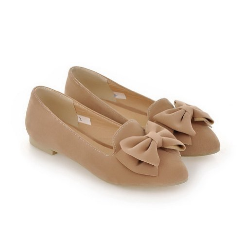 Weenfashion Womens Fermé Bout Pointu Dépoli Pu Solide Appartements Avec Bowknot Abricot