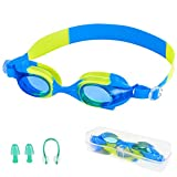 Zerhunt Swim Goggles for Kids Kids Swimming Goggles with UV Protection,Anti Fog,Crystal Clear,No Leak Water Goggles with Ear Plug and Nose Clip for Boys and Girls (Age 4-12)