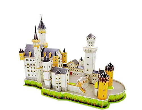 Queenie Germany Neuschwanstein Castle Landmark Building Paper Models Jigsaw Puzzle Toys Safety Paper Craft DIY 3D Puzzles for Pretty Home Decoration, 109 Pieces