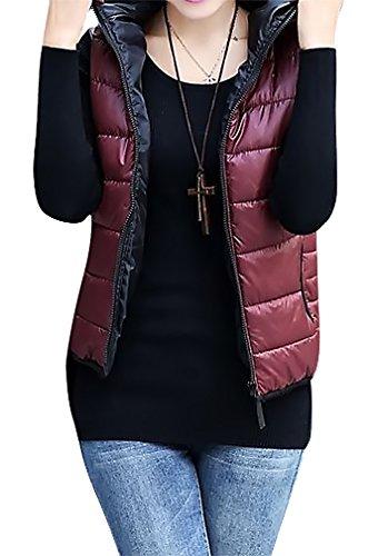 US&R Women's Hooded Windbreaker Puffer Vest Sleeveless Thickening Casual Jacket, Maroon Small
