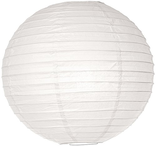 (Luna Bazaar Paper Lantern (18-Inch, Parallel Style Ribbed, White) - Rice Paper Chinese/Japanese Hanging Decoration - for Home Decor, Parties, and Weddings)