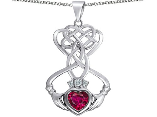 Ruby Celtic - Star K Celtic Knot Claddagh Heart Pendant Necklace with Heart Shape Created Ruby Sterling Silver
