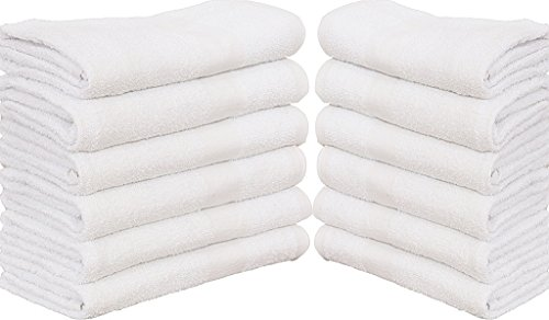 120 (10 Dozen) New White Economy Bath Towel (24''x 50'') Ringspun Cotton for Maximum Softness Easy Care-Home,spa,resort,hotels/Motels use (1 Dozen) (120) by Gold textiles