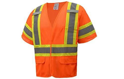 Class Iii Safety Vest - CJS CJHVSV3001 ANSI Class 3 High Visibility Two Tone Safety Vest 100% Polyester Mesh (5XL, Orange)