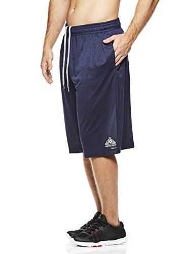 Above The Rim Men's Basketball Short Basic Athletic Workout Gym Shorts - Tournament - Navy Heather, X-Large
